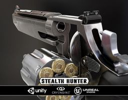 3d asset realtime stealthhunter revolver - model and textures