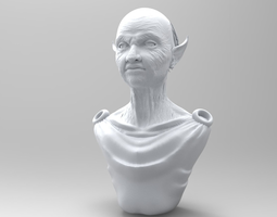 3d elderly elf torso and head
