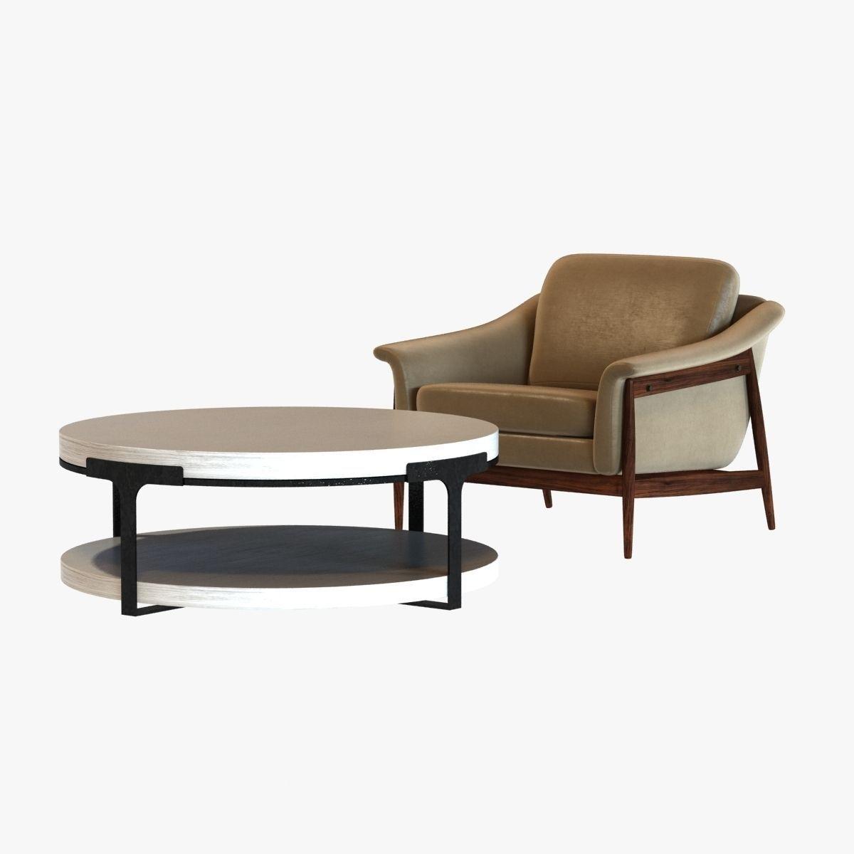 Danish Modern Club Chair And Holly Hunt Tudor Coctail Table 3d Model Max Obj 3ds Fbx