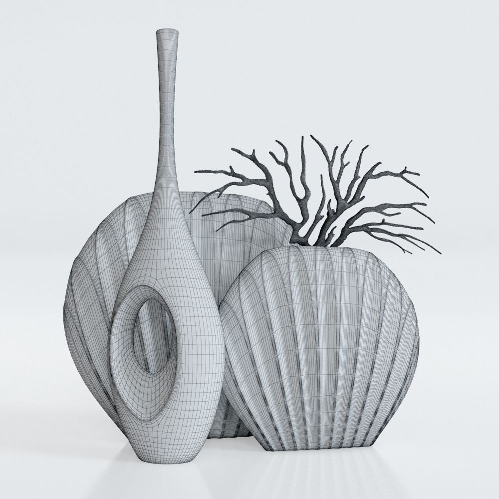 3d model white vases set with a coral cgtrader white vases set with a coral 3d model max obj fbx mtl 4 reviewsmspy