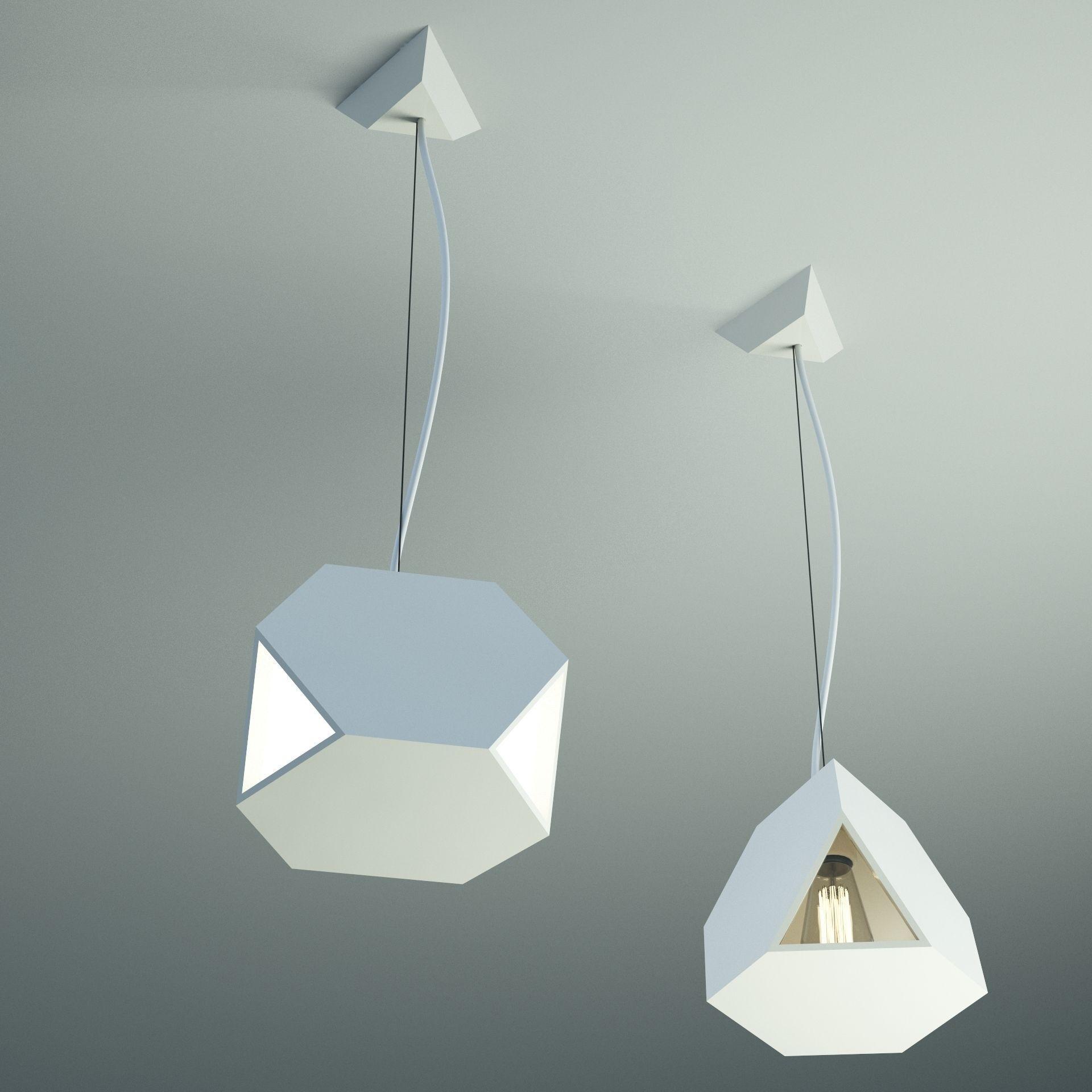 Fractal Pendant Lights: Tri Side Glass Free 3D Model MAX OBJ FBX