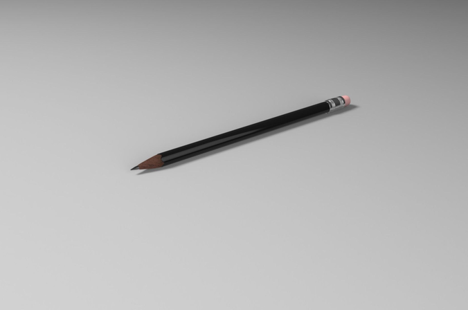 pencils lowpoly and highpoly 3d model obj mtl ma mb 1