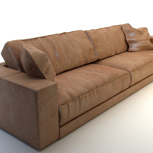 Photorealistic Long Leather Sofa3D model