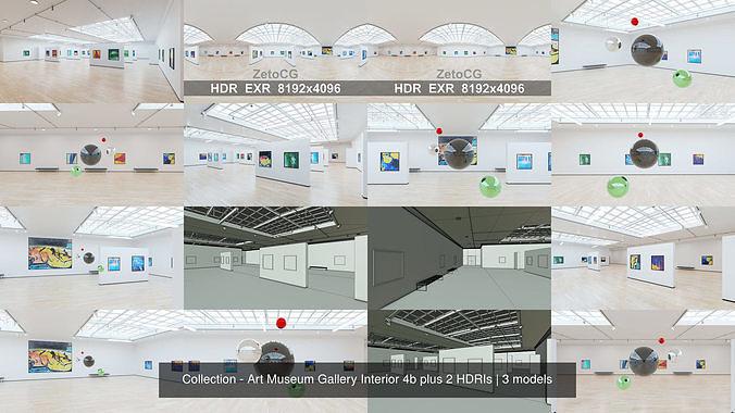 Collection - Art Museum Gallery Interior 4b plus 2 HDRIs