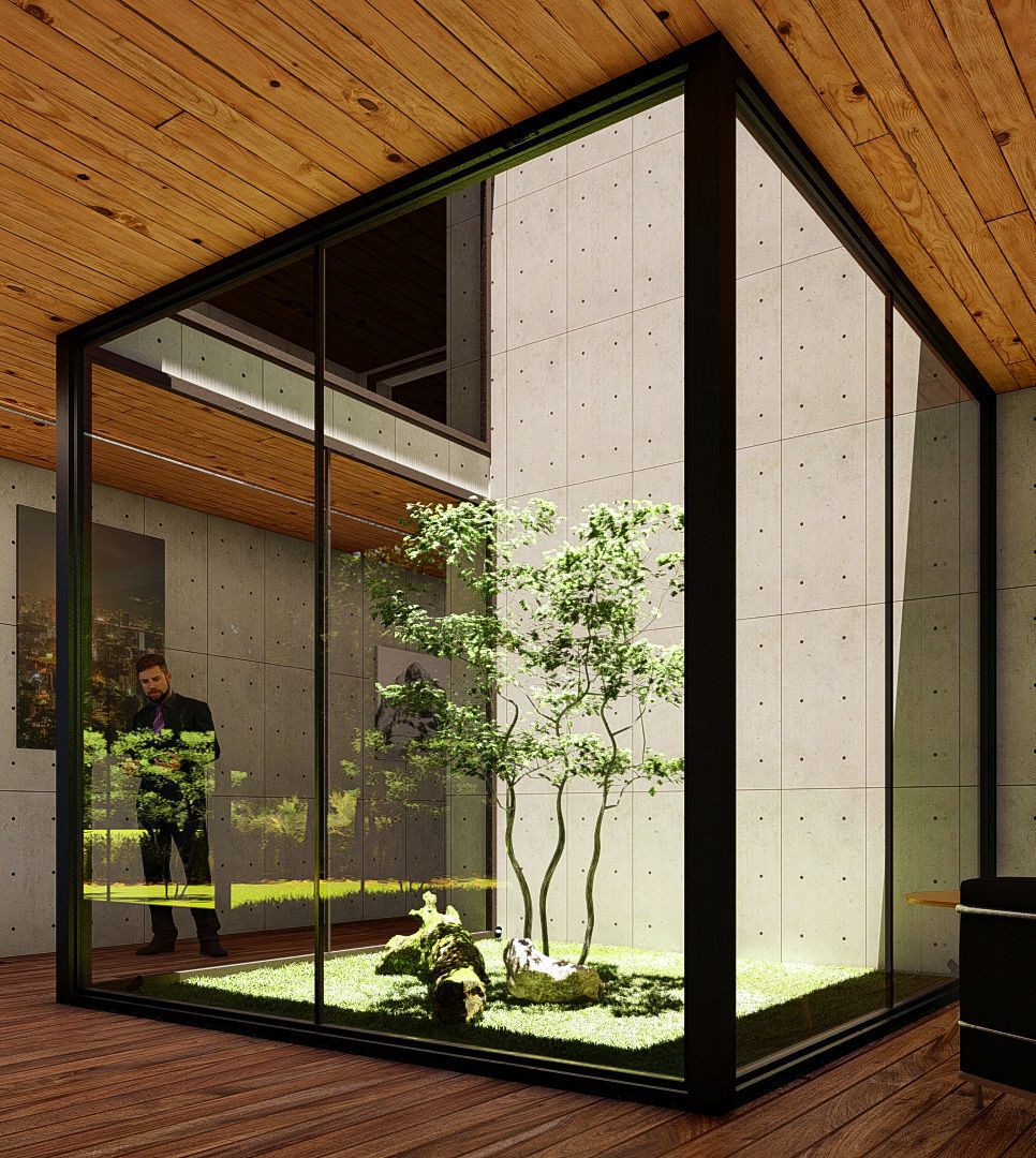 A tree in the atrium covered by glass 3D Model