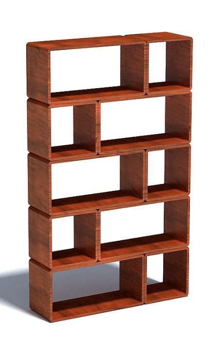 modular wood block shelf 3d model max 1