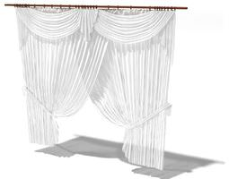 fancy white curtains 3d model