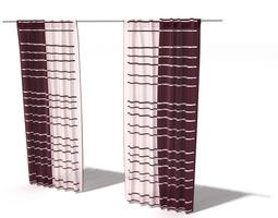 Striped Red And White Curtains 3D Model