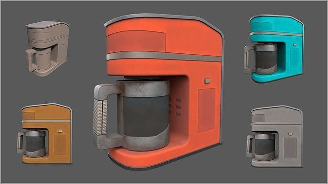 Simple Stylized Dusty Coffee Machine - 4 color schemes
