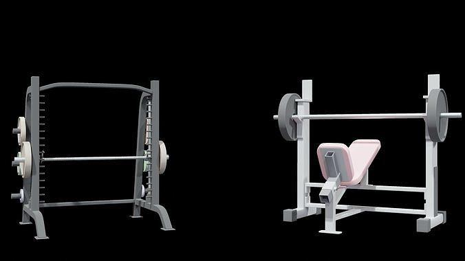 Gym machine equipment Smith machine and Incline bench