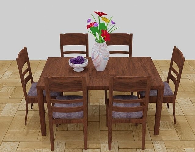 Table chair SET  vase flowers grape