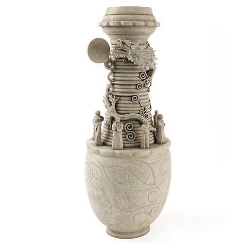 detailed gray vase 3d model obj 1