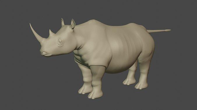 White Rhinoceros Low-poly 3D model