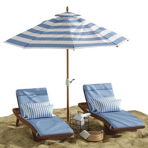 Beach umbrella and chaise longue set 2