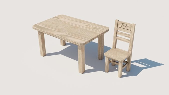 Wooden chair and table for game