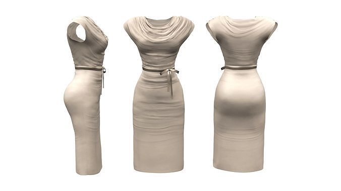 Drapped Cowl Dress With Belt