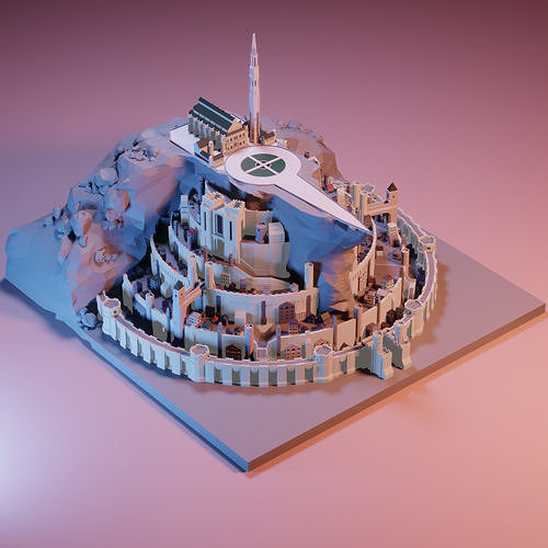 Minas tirith from Lord of the rings Low poly