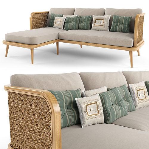 3-seat modular sofa outdoor rattan wood With Chair Lounge