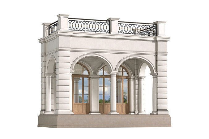 Facade with arched openings and a balcony Arched Entrance
