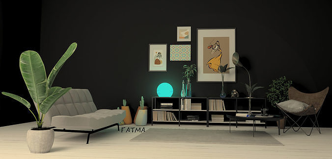 modern interior design with vray render done by 3dmax