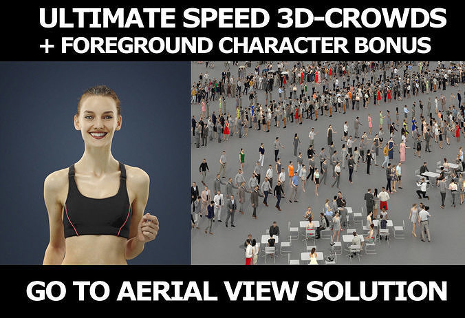 3d people crowds and a foreground Beauty sports running woman
