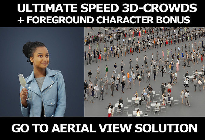 3d people crowds and a foreground May champagne sitting woman