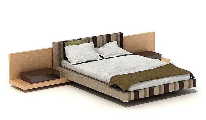 New Model Beds : Striped Modern Bed 3D Model OBJ  CGTrader.com