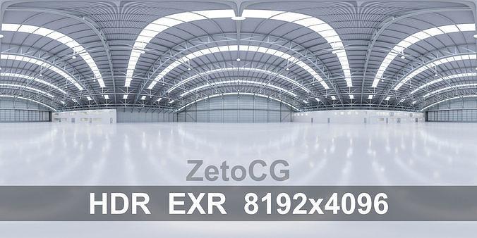 HDRI - Airplane Hangar Interior 8b - 8192x4096