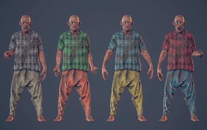 Unity Ready Homeless Guy - Low Poly
