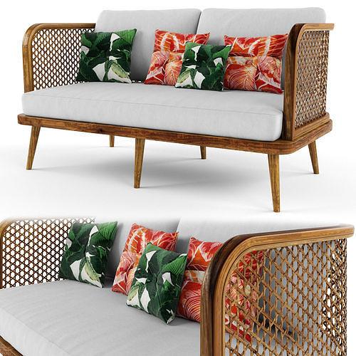 2-seat modular sofa outdoor rattan wood
