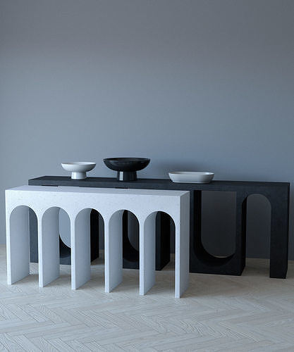 Console table set with decorative bowls