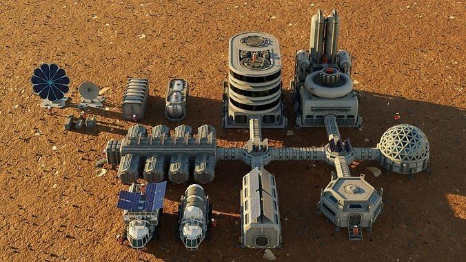 Low poly alien colony