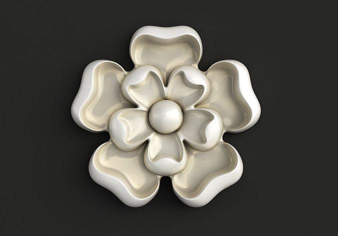 Round carved rosette flower