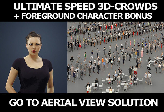 3d people crowds and Dream foreground elegant sitting woman