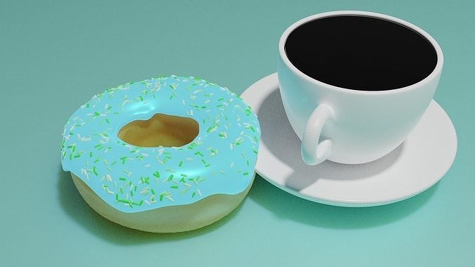 Donut with cup of coffe