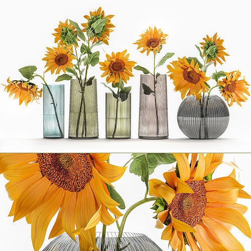 Flower bouquet of sunflowers in a vase 120