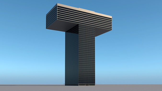 High-rise building skyscraper  letter T 3D model