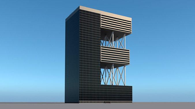 High-rise building skyscraper  letter E 3D model