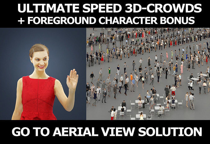3d crowds and Aspiration foreground waving casual woman