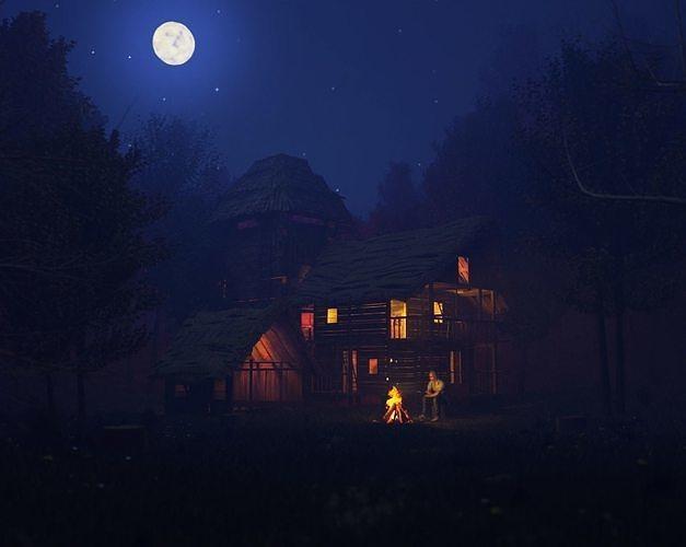 Night Forest Cottage Scene