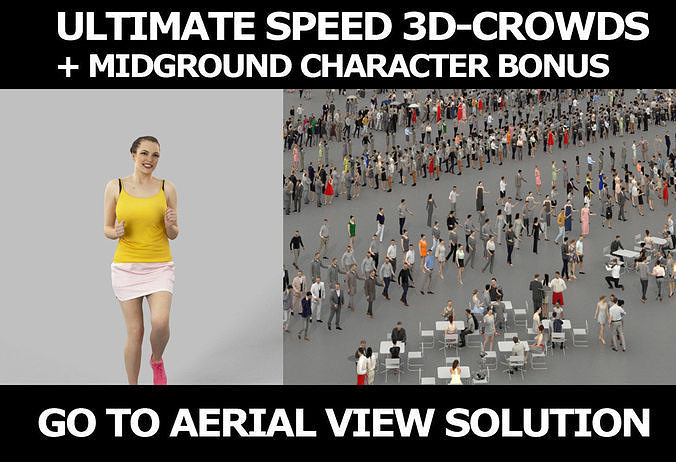 3d crowds and Dream midground voluptuous running woman