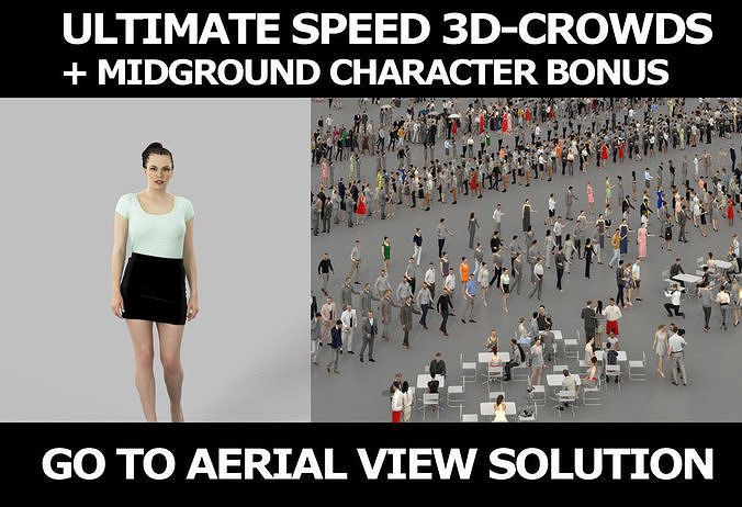 3d crowds and Dream a midground elegant walking woman