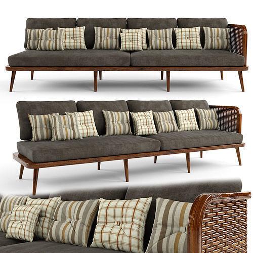 4-seat modular sofa outdoor rattan wood
