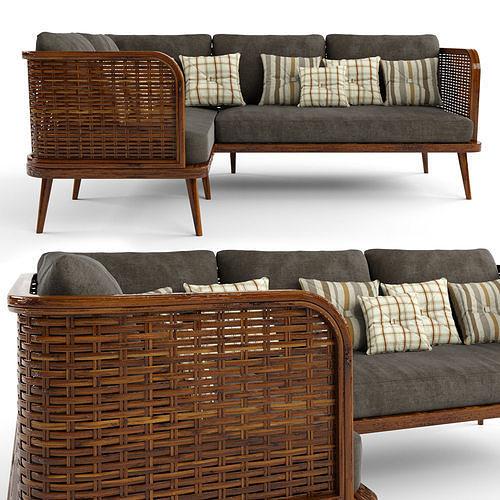 3-seat modular sofa corner outdoor rattan wood