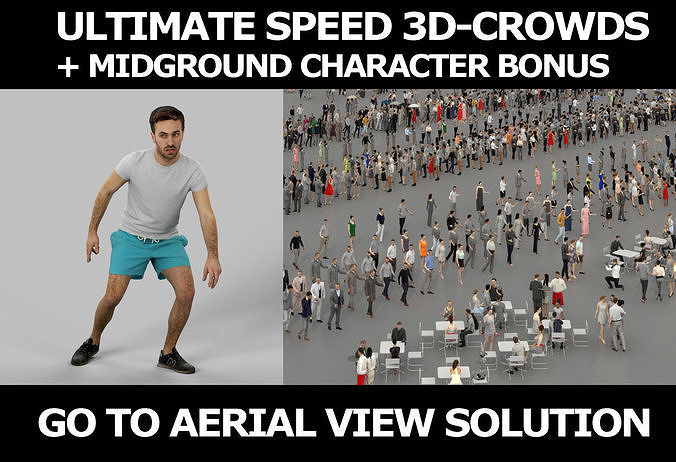 3d crowds and Flow Midground Sports Man playing football