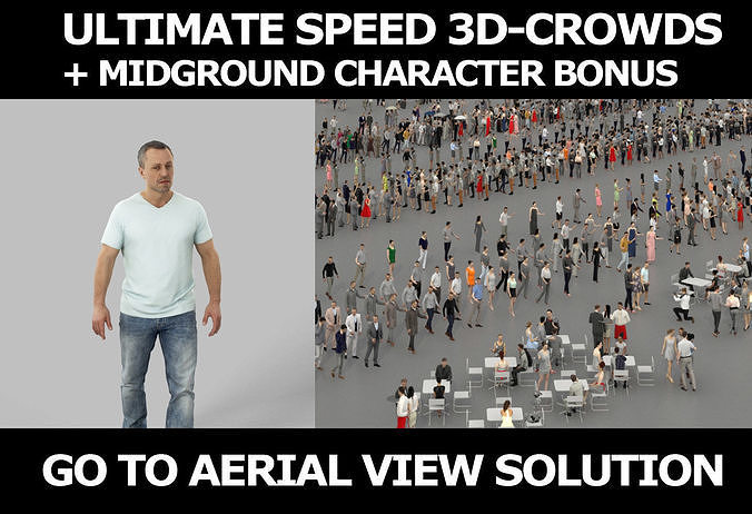 3d crowds and Fortitude A midground walking casual Man
