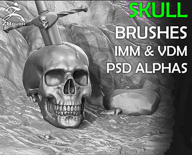 Skull Brushes and Alphas for ZBrush