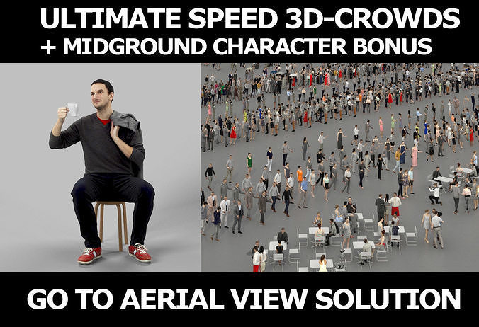 3d crowds Jest with coffee A Midground Casual Sitting Man