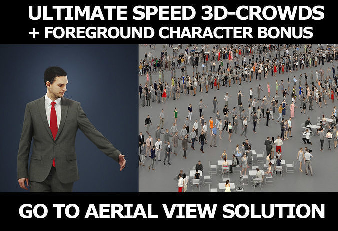 3d crowds and Jest A Foreground Business Man Walking