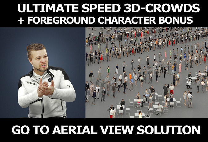 3d crowds and Keen Jacket Foreground Casual Sitting Man